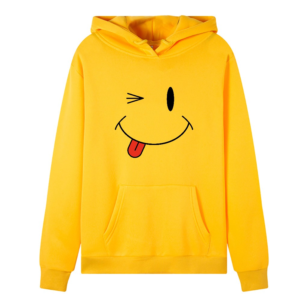 Warm Lady Winter Sweatshirt Cartoon Anime Style Winter Fashion Face Print Sleeveo-neck Hooded Long Sleeve Sweatshirt Top