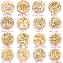 Pintura sello en la tarjeta de cumpleaños Retro Diy Estampillas para sobres Corona Rosa ornamento para árbol invitaciones de la boda sello de cera