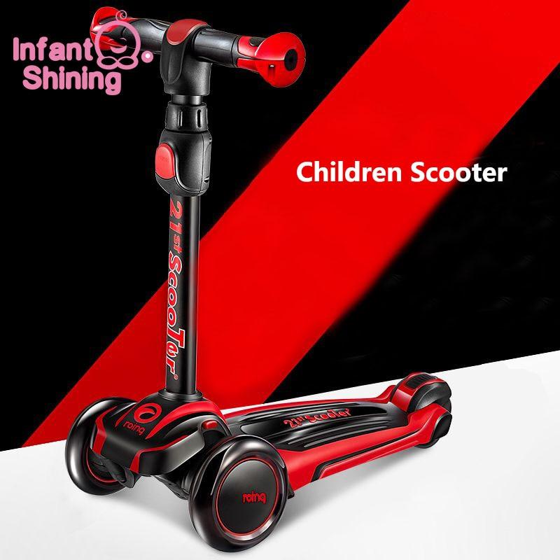 Infant Shining Children Scooter PU Flashing 3 Wheel Kids Scooter Adjustable Height Outdoor Skateboard Gift For Children Kids