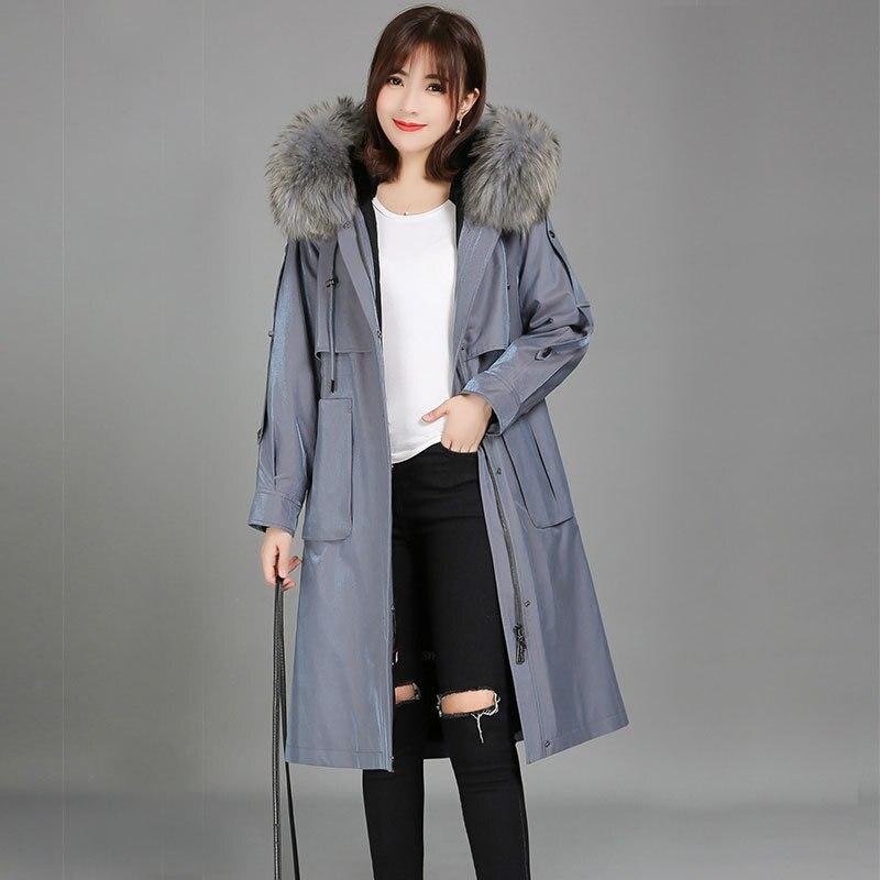 Thick Warm Real Rex Rabbit Fur Liner Parka Winter Jacket Women Real Fur Coat Long Parka Big Natural Fox Fur Hooded LW1485