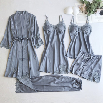 Gray 5PCS Nightgown Set Women Lace Nightwear V-Neck Pajamas Suit Homewear Spring Sleepwear Robe Gown Sleep Wear Pijama Negligee - discount item  47% OFF Women's Sleep & Lounge