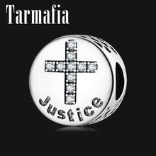 925 пробы серебряный крест знак хорошая мораль-честность прозрачный CZ Подвески бусины подходят Pandora Серебро 925 оригинальные браслеты ювелирные изделия