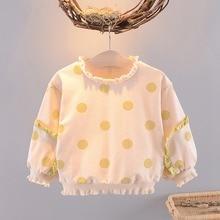 Г. Милая Осенняя футболка для маленьких девочек, пуловер в горошек с длинными рукавами и оборками топы, футболки хлопковая Футболка S9517