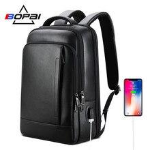 BOPAI рюкзак из натуральной кожи для ноутбука, модный бизнес рюкзак для мужчин, компьютер, usb, черный кожаный рюкзак для мужчин