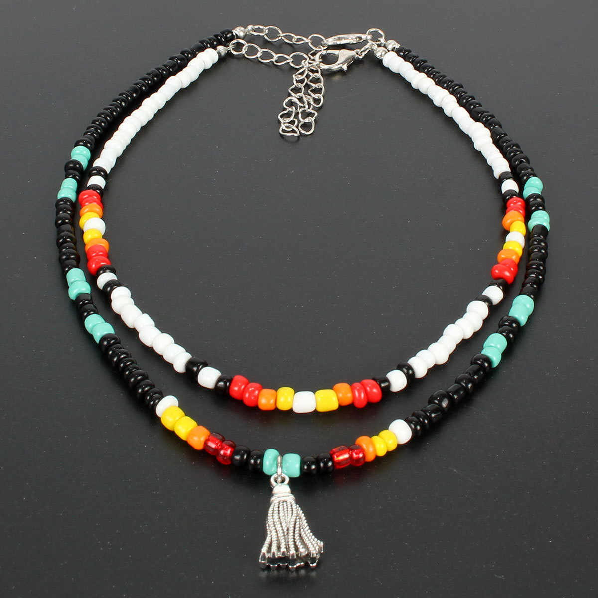 Wishspace, European and American popular Bohemian small glass bead choker chain, fashionable woman necklace jewelry wholesale