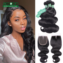 Peruvian Hair Bundles With Closure Body Wave 3 Bundles Non-remy Hair Extensions Double Weft Human Hair Bundles With Closure(China)