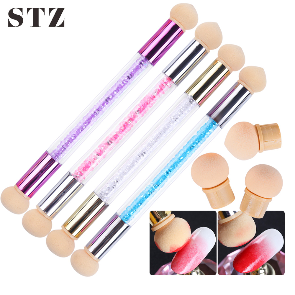 STZ Ombre Nail Brush Set Gradient Sponges Nail Art Brushes Pen Acrylic Gel Glitter Powder Picking Dotting Tools Manicure #945-1