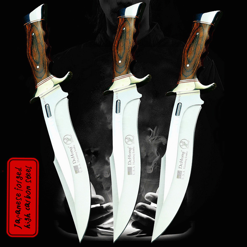 DEHONG         U S A  SA78 high-end enhanced hunting straight blade rescue knife camping straight blade Mirror light  tactical knife