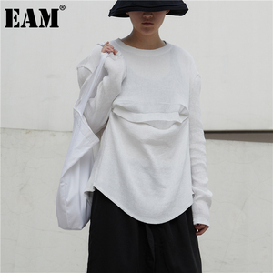 [EAM] Women White Pleated Split Joint Big Size T-shirt New Round Neck Long Sleeve Fashion Tide Spring Autumn 2020 1DB047