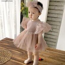 Для маленьких девочек s новорожденных с короткими рукавами, праздничное платье принцессы, платье для маленьких девочек возрастом от 1st на де...