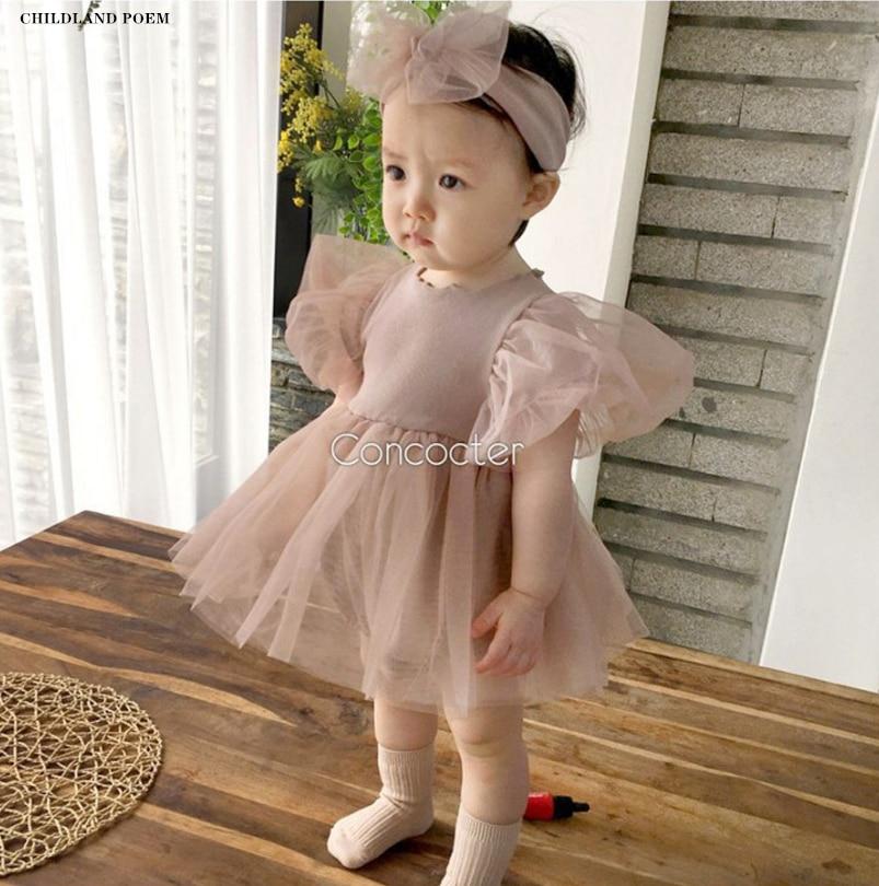 Bebê meninas vestido de bebê recém-nascido princesa vestido de bebê para a menina 1st aniversário festa de casamento infantil roupas da menina do bebê algodão batismo vestido