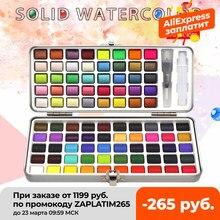 Seeiart – ensemble d'aquarelle unie, 72/90 couleurs, peinture aquarelle à paillettes pour dessin, fournitures de peinture artistique