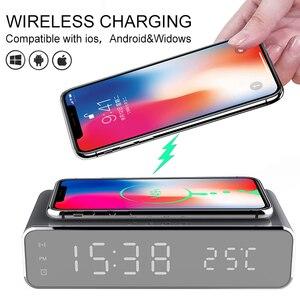 1 pièces universel téléphone sans fil chargeur thermomètre horloge HD miroir horloge numérique miroir LED Table réveil sans fil bureau