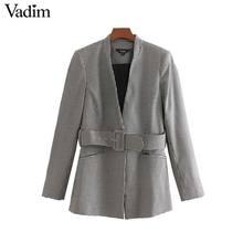 Vadim women elegant tweed plaid blazer houndstooth V neck checkered bo