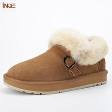 Winter Boots INOE Shoes Short Sheepskin Ankle Suede Women Lined Fur for Warm Flats Non-Slip
