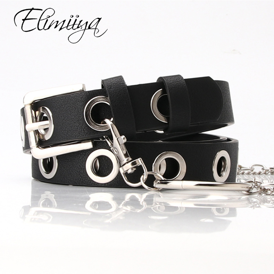 Elimiiya Brand Rock Punk Belt For Women Retro Simple Wild Round Chain Full Hole Adjustable Belts Black  Red Coffee Waistbelt