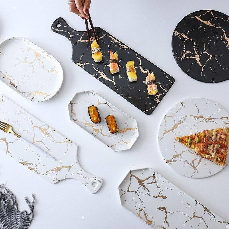 Nouveau créatif marbre rayure grand Rectangle et rond en céramique Pizza assiette ustensiles de cuisine porcelaine Sushi vaisselle en gros