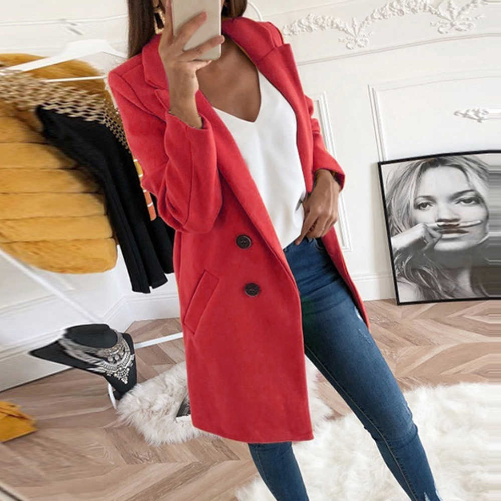 New Women Long Wool Blend Coat Autumn Winter Slim Fit Jacket Ladies Mujer Fashion 2019 Turn-down Collar Solid Casaco Feminino