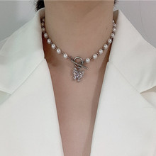 Fashion Trendy Alloy Butterfly Pearl Choker For Women Female Korean CZ Butterfly Pendant Necklace Jewelry 2020 Newest n090612 21 white keshi pearl necklace cz pendant