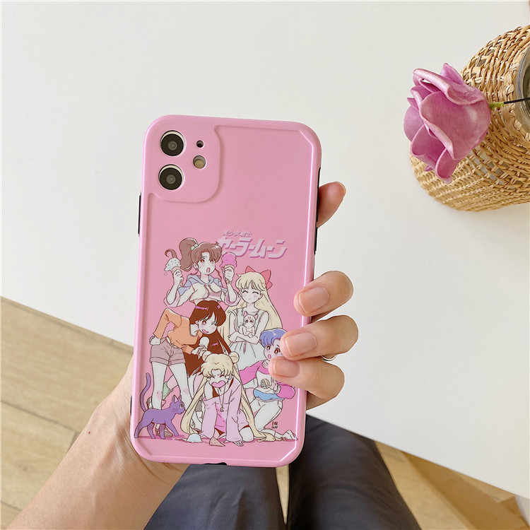 Jepang Kawaii Anime Sailor Moon Ilustrasi untuk iPhone 11 Pro Max Xr X Xs Max 7 7 Plus 8 Plus Soft Cover