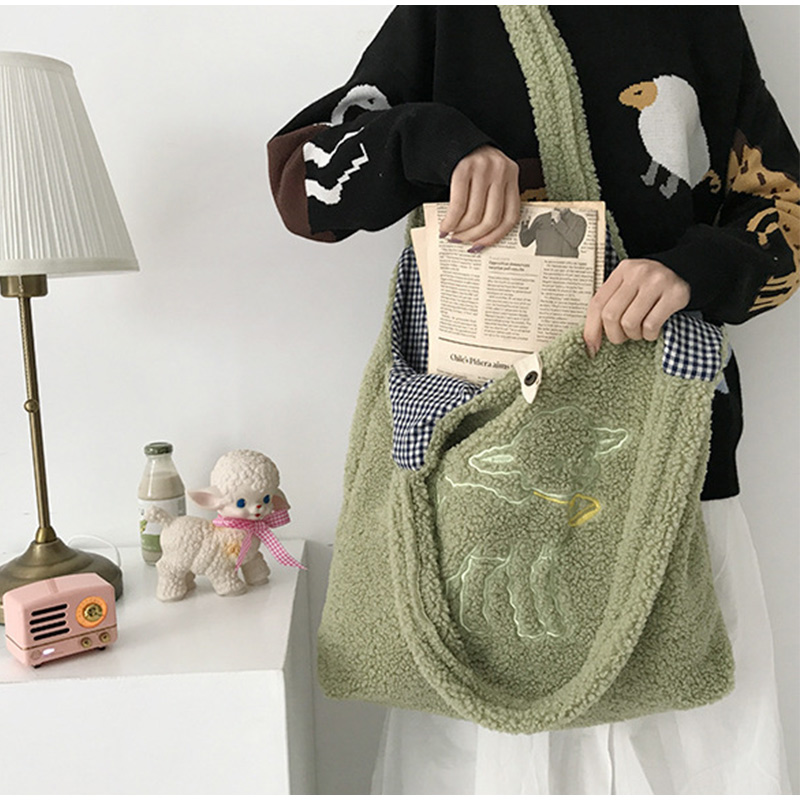 Women Lambswool Shoulder Bag Large Capacity Embroidery Shopping Purse Cute Book Tote Bags For Girls Casual Ladies Canvas Handbag