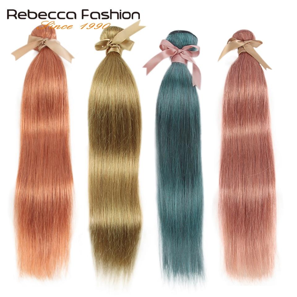 Rebecca Golden Blonde-extensiones de cabello humano Remy, mechones de pelo liso brasileño, Azul, Naranja, Rosa, 8 #, 30 #, 1/3/4 mechones