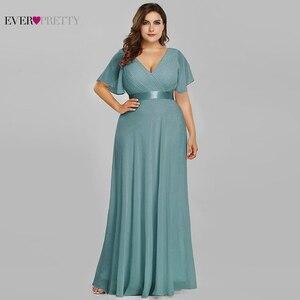 Image 5 - 핑크 신부 들러리 드레스 플러스 사이즈 적 꽤 우아한 라인 V 목 짧은 소매 시폰 긴 결혼식 파티 드레스 여성 Vestidos