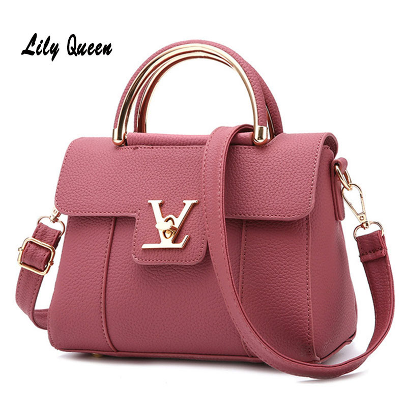 LILY QUEEN Women Fashion Crossbody Messenger Bag Ladies Elegant Bolsa Top Handle Hasp Solid Leather Tote Bag