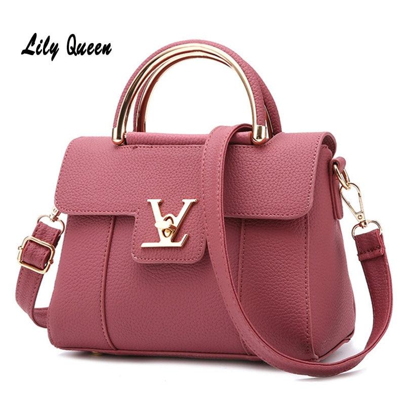 LILY QUEEN Women Fashion Crossbody Messenger Bag Ladies Elegant Bolsa Top Handle Hasp Solid Leather Tote Bag