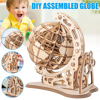 Children Kids 3D Puzzle Toy Globe Model DIY Wooden Gift Decoration for Home YH-17