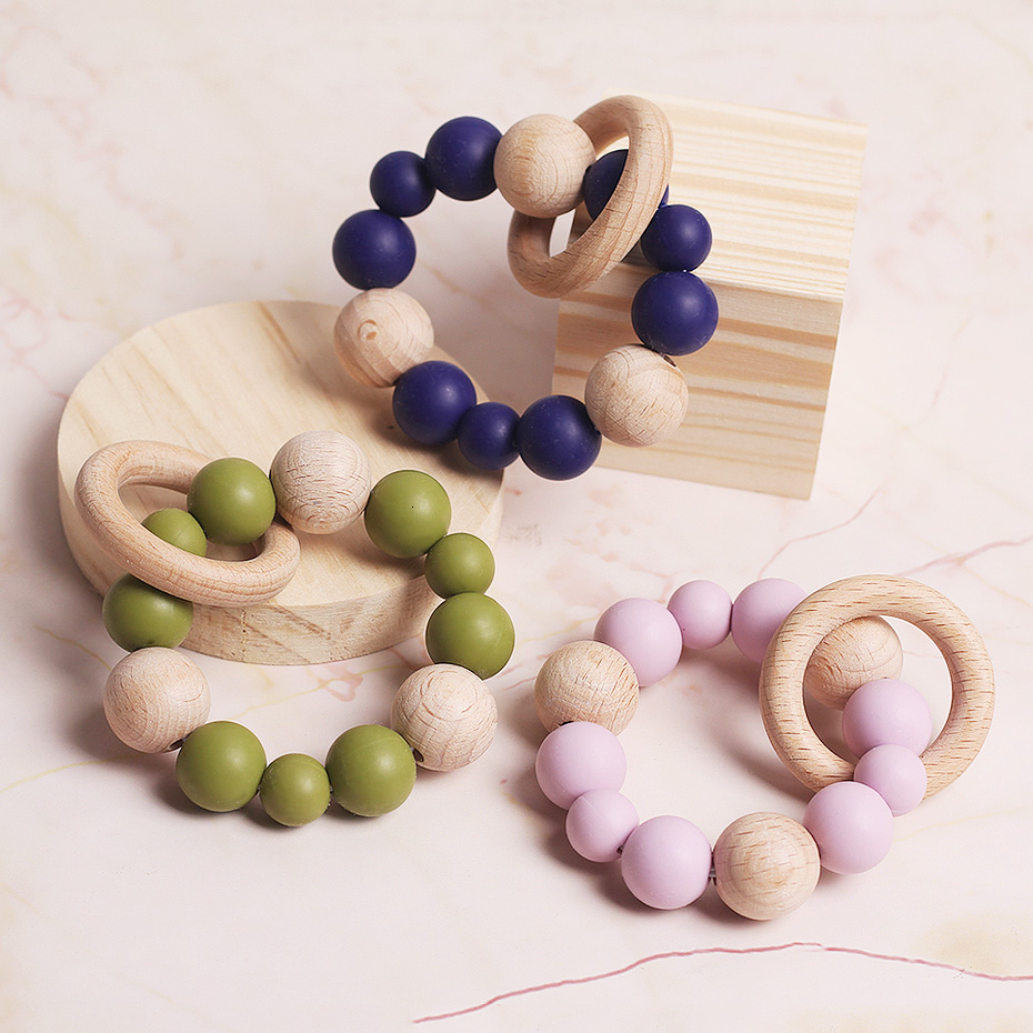 Pacifier Clip Baby Wood Bead Wood Ring Baby Toys Tooth Bracelet Pacifier Chain Baby Cradle Accessories