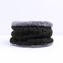 Ring Scarf Neck Snood Male Neckerchief Knitted Warm Solid-Color Velvet Plus Unisex Men