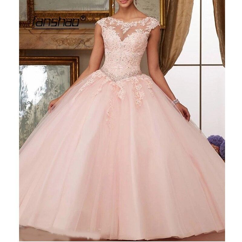 Fanshao Quinceanera Kleider Appliques Perlen Scoop Neck Ballkleider Sparkly Süße 16 Jahr Prinzessin Kleider Für 15 Jahre Vestidos