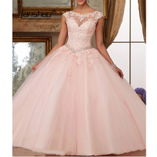 Quinceanera-Dresses Gowns Beads Neck-Ball Sparkly Sweet 15-Years Appliques Scoop