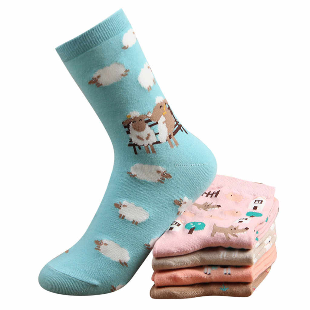 1 คู่ผ้าฝ้ายถุงเท้าสัตว์พิมพ์ตัวอักษรผู้หญิงฤดูหนาวถุงเท้า
