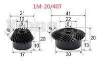 1M 20/40 Zähnen 1: 2 Ration Precision Spiral Kegel Getriebe Spiral Kegel Getriebe 0 15g-in Zahnräder aus Heimwerkerbedarf bei