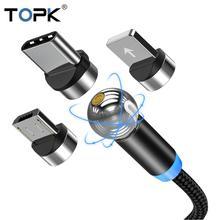 TOPK AM28 Магнитный кабель с поворотом на 360 градусов, кабель Micro usb type C, Магнитный зарядный светодиодный usb-кабель для iPhone 11 XR XS Max X 8 7