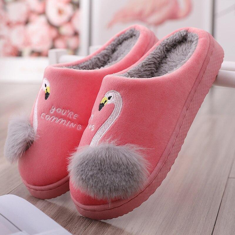 Женские зимние домашние тапочки; Новинка года; нескользящие теплые домашние тапочки с мягким мехом для влюбленных пар; женские пушистые шлепанцы - Цвет: Flamingo red