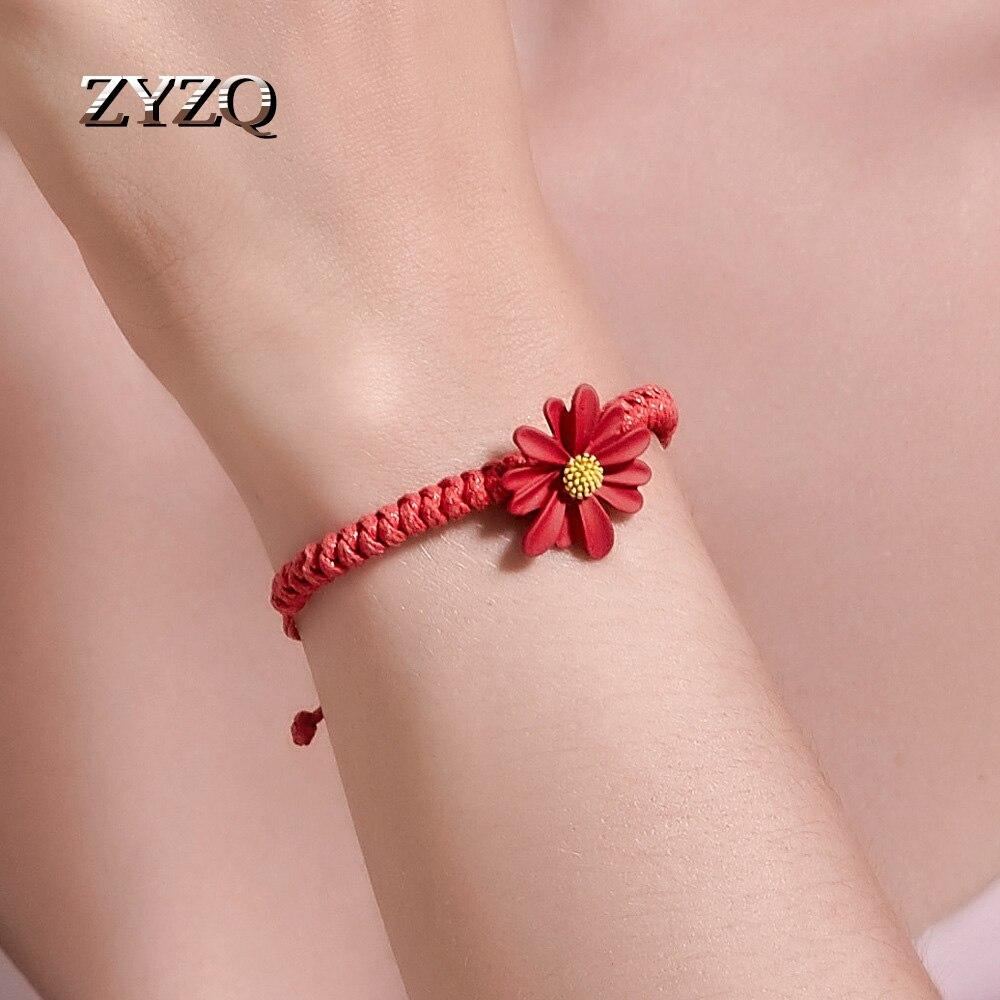 ZYZQ New Fabric Daisy Bracelet Hand-woven Small Fresh Red String Bracelet Adjustable Student Girlfriend Bracelet