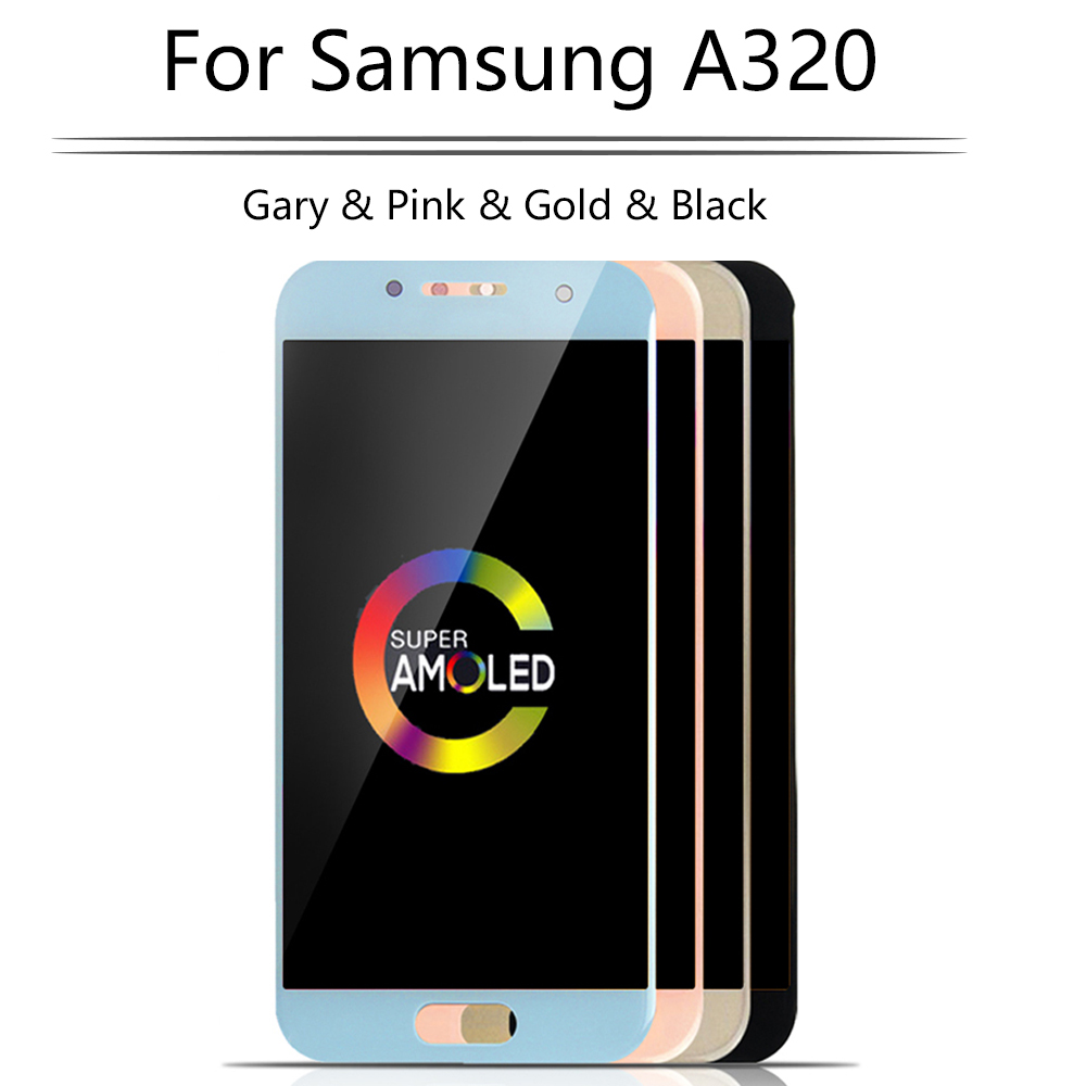 Original Super AMOLED pour Samsung Galaxy A3 2017 LCD écran tactile numériseur assemblée A320 A320M SM-A320F A320FD LCD