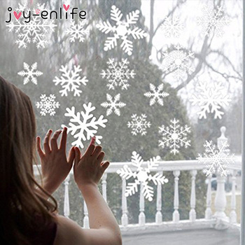 27pcs/lot White Snowflake Sticker Decoration Glass Window Kids Room Christmas Wall Stickers Home Decals Decoration New Year 2020 1