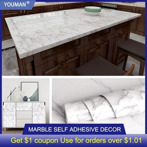 Image 1 - 3D mermer vinil Film kendinden yapışkanlı su geçirmez banyo için duvar kağıdı mutfak dolabı tezgahı yapışkan kağıt PVC duvar Sticker