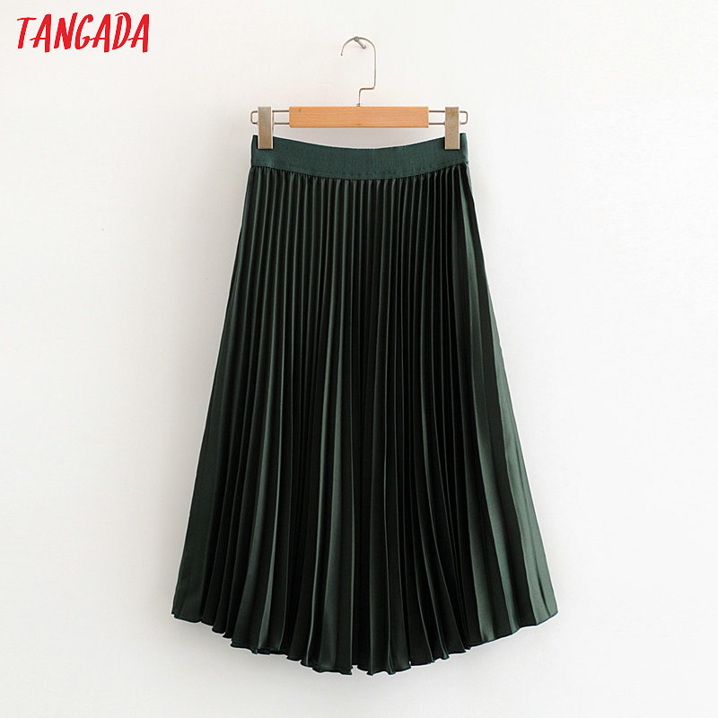 Tangada Women Dark Green Pleated Midi Skirt Faldas Mujer Vintage Strethy Waist Office Ladies Elegant Chic Mid Calf Skirts HY01