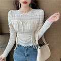 Winter New Style Korean-style Versitile Fashion Shirred Slim Fit Slimming Solid Color Long-sleeved Upper Garment Underwear Lace