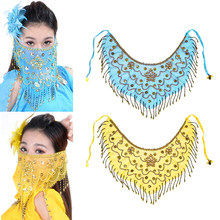 2x Lady Belly Dance Face Veil Glitter Sequins Tassel Dancing Costume(China)