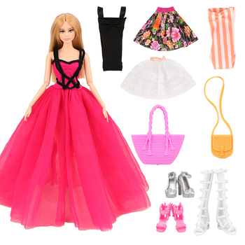 Fashion Handmade 8 Items/set Doll Accessories =  3 Toys Dress Random +3 Doll Shoes + 2 Accessory For Barbie Game DIY Girl' Gift 9 item set doll accessories 3 pcs doll clothes dress 3 plastic necklace random 3 pairs shoes for barbie doll girl gift toy