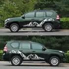 Аксессуары для стайлинга автомобилей Боковая наклейка на кузов автомобиля в полоску наклейка снежные горные гоночные наклейки для Toyota Prado ...