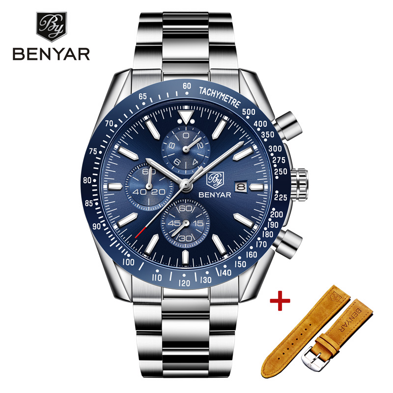 New BENYAR Wristwatch Mens 2019 Quartz Chronograph Mens Watches Top Brand Luxury Fashion Military Watch Men Clock Zegarki Meskie