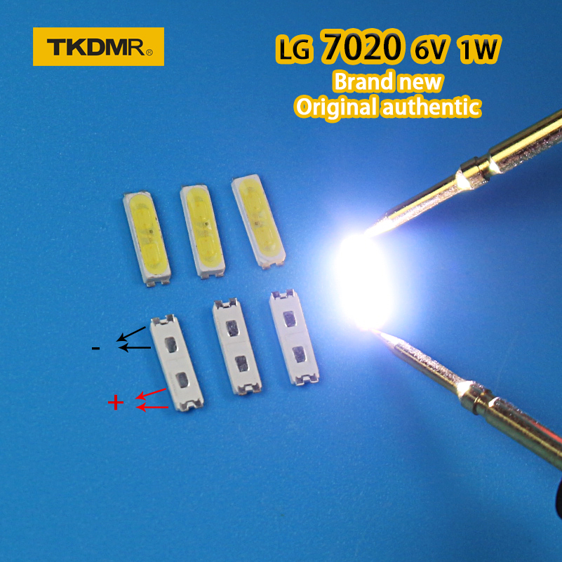 TKDMR 50piece/lot for repair <font><b>lg</b></font> 32 to <font><b>55</b></font>-<font><b>inch</b></font> LCD <font><b>TV</b></font> <font><b>LED</b></font> backlight Article lamp SMD <font><b>LEDs</b></font> 7020 6V Cold white light emitting diode image