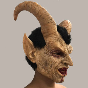 Image 3 - Lucifer Horn Cosplay Latex Masks Halloween Costume Scary Demon Movie Horrible mask Adults Party props